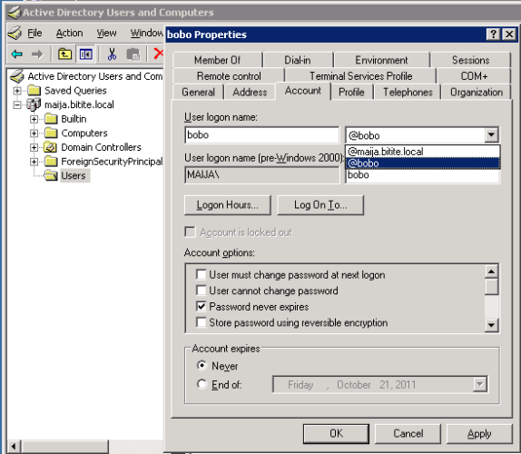 Active Directory Change suffix